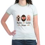Faith Love Hope Pink Ribbon Jr. Ringer T-Shirt