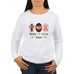 Faith Love Hope Pink Ribbon Women's Long Sleeve T-
