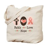 Faith Love Hope Pink Ribbon Tote Bag
