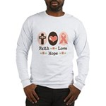 Faith Love Hope Pink Ribbon Long Sleeve T-Shirt