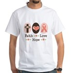 Faith Love Hope Pink Ribbon White T-Shirt