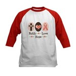 Faith Love Hope Pink Ribbon Kids Baseball Jersey