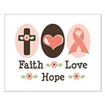 Faith Love Hope Pink Ribbon Small Poster