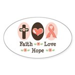 Faith Love Hope Pink Ribbon Oval Sticker