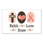 Faith Love Hope Pink Ribbon Rectangle Sticker