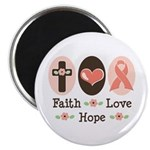 Faith Love Hope Pink Ribbon Magnet