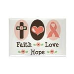 Faith Love Hope Pink Ribbon Rectangle Magnet