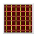 Orange And Yellow Latticework Tile Coaster