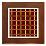 Orange And Yellow Latticework Framed Tile