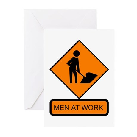 Men at Work Sign 2 - Greeting Cards (Pk of 10)