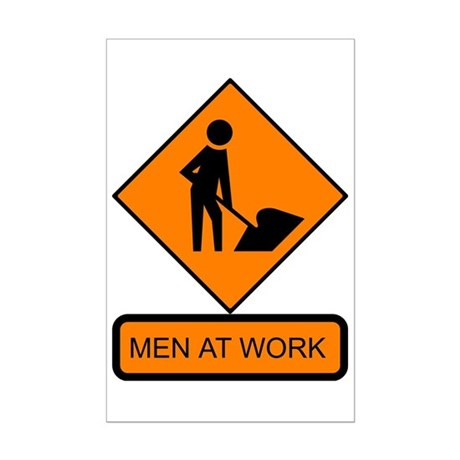 Men at Work Sign 2 - Mini Poster Print