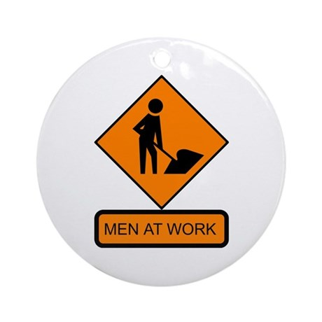 Men at Work Sign 2 - Keepsake (Round)