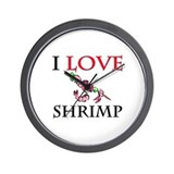 I Love Shrimp Wall Clock