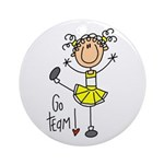 Yellow Cheerleader Ornament (Round)