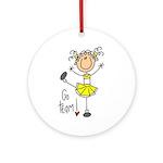 Yellow Cheerleader Ornament (Round)