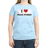 I Love Peace Studies Women's Pink T-Shirt