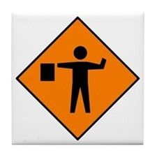 Flagman Ahead Sign - Tile Coaster