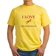 I Love Red Kangaroos Yellow T-Shirt
