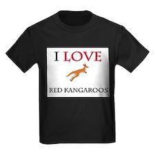 I Love Red Kangaroos Kids Dark T-Shirt