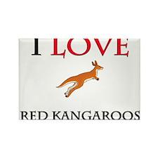I Love Red Kangaroos Rectangle Magnet (10 pack)