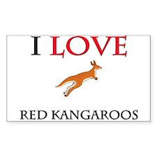 I Love Red Kangaroos Rectangle Sticker