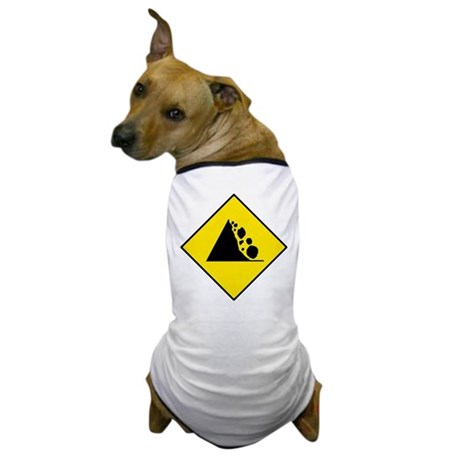Falling Rocks Sign - Dog T-Shirt