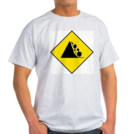 Falling Rocks Sign - Ash Grey T-Shirt