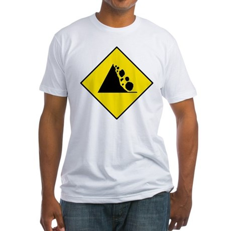 Falling Rocks Sign - Fitted T-Shirt