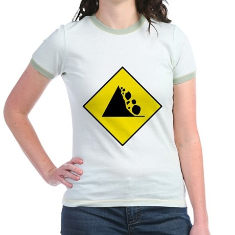Falling Rocks Sign - Jr. Ringer T-Shirt