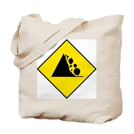 Falling Rocks Sign - Tote Bag
