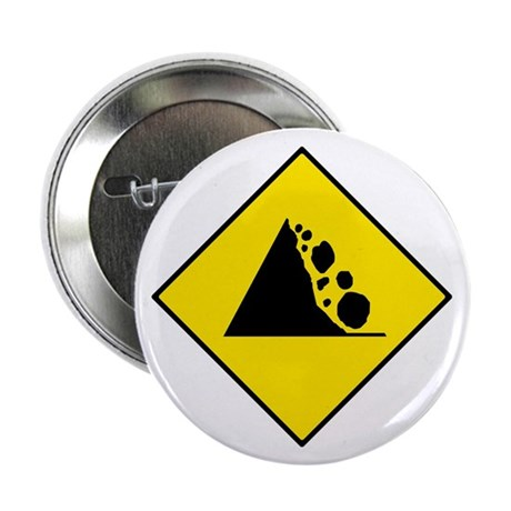 "Falling Rocks Sign - 2.25"" Button (10 pack)"