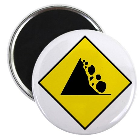 Falling Rocks Sign - Magnet