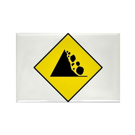 Falling Rocks Sign - Rectangle Magnet (100 pack)