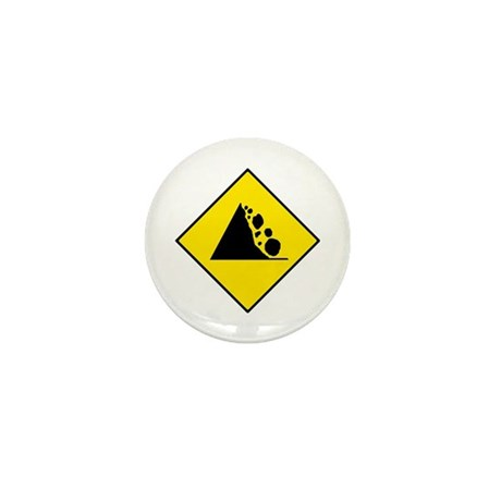 Falling Rocks Sign - Mini Button (10 pack)