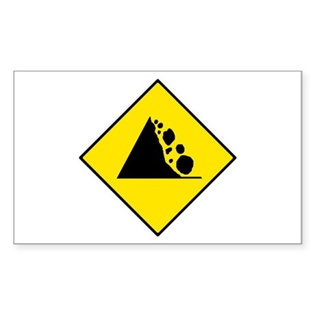 Falling Rocks Sign - Rectangle Sticker