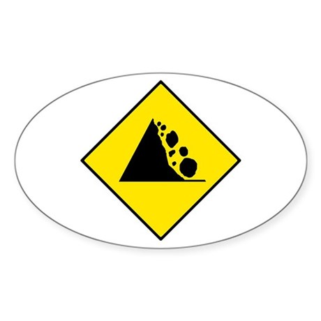 Falling Rocks Sign - Oval Sticker