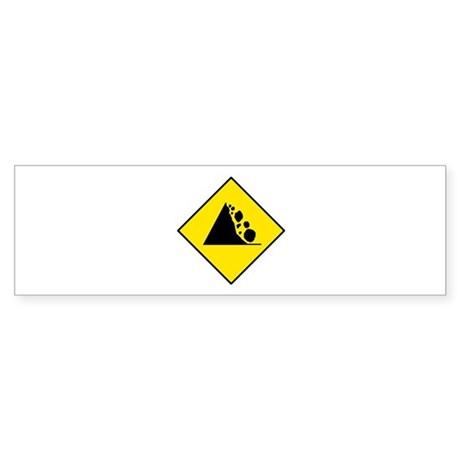 Falling Rocks Sign - Bumper Sticker
