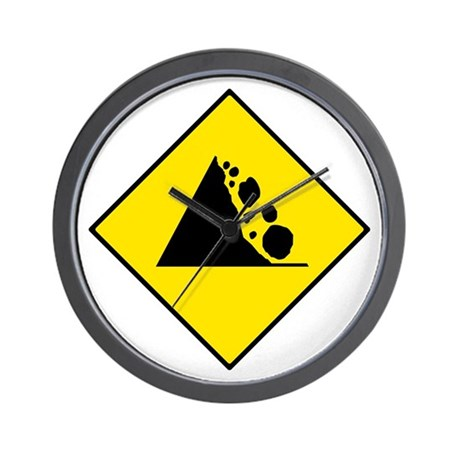 Falling Rocks Sign - Wall Clock