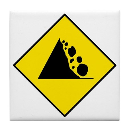 Falling Rocks Sign - Tile Coaster