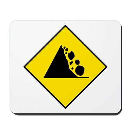 Falling Rocks Sign - Mousepad