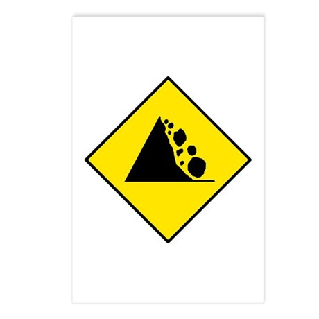 Falling Rocks Sign - Postcards (Package of 8)