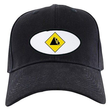 Falling Rocks Sign - Black Cap