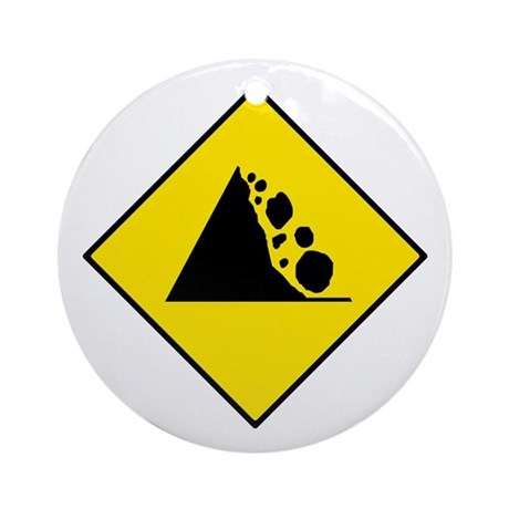 Falling Rocks Sign - Keepsake (Round)