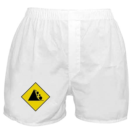 Falling Rocks Sign - Boxer Shorts