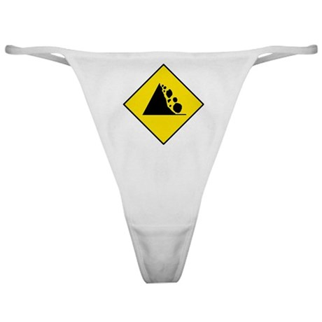 Falling Rocks Sign - Classic Thong