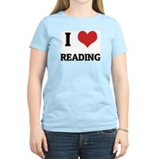 I Love Reading Women's Pink T-Shirt