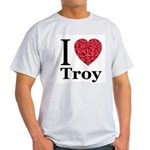 I Love Troy Ash Grey T-Shirt