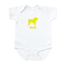 Bite Me Bulldog Yellow Infant Bodysuit