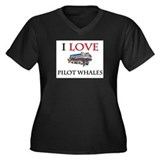 I Love Pilot Whales Women's Plus Size V-Neck Dark