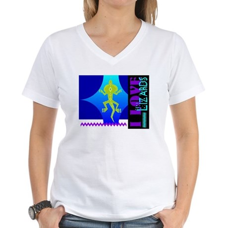 I Love Lizards Women's V-Neck T-Shirt